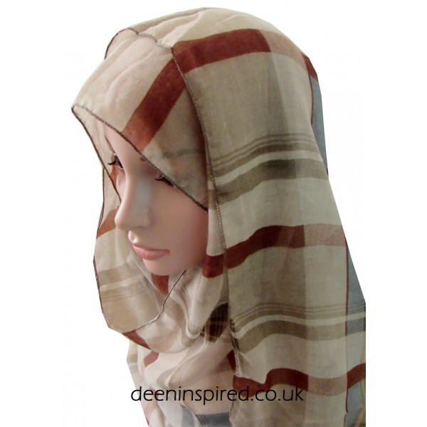 Check Hijab - Beige and Brown