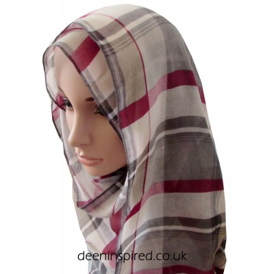 Check Hijab - Grey and Red