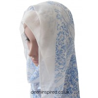Traditional Print Hijab - White with Blue