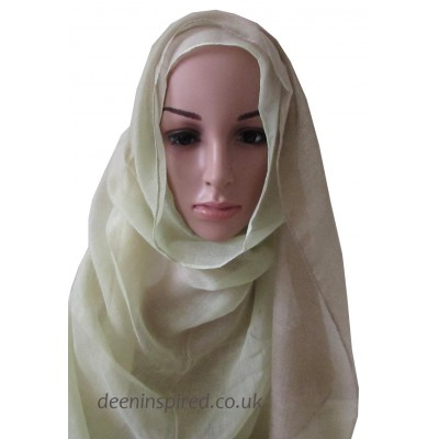Two Tone Hijab - Cream and Pastel Green