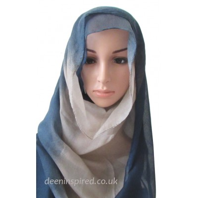 Two Tone Hijab - Navy and Beige
