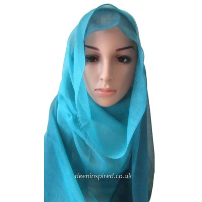 Two Tone Hijab - Turquoise and Blue