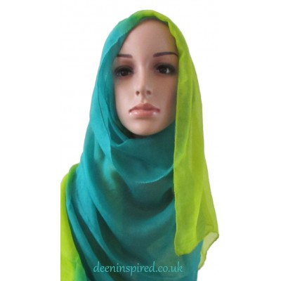 Two Tone Hijab - Turquoise and Green